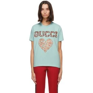 Gucci blue liberty London Edition Heart T-shirt